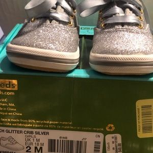 Kids infant sneakers Silver fairly new